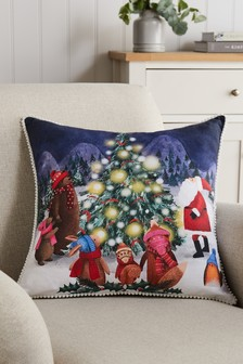 Navy Blue Christmas Scene Cushion