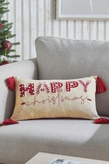 大地色/紅色「Happy Christmas」靠墊