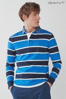 GANT Denim Collar Long Sleeve Rugby Shirt