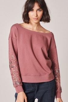 Off Shoulder Sparkle Sleeve Sweatshirt