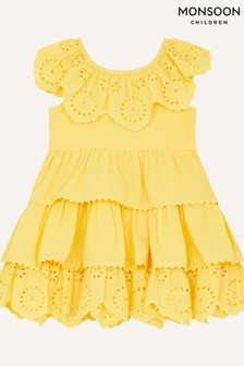 Monsoon黃色嬰兒胸前褶皺連衣裙