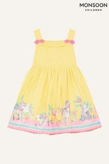 Monsoon黃色嬰兒裝動物圖案飾邊連衣裙