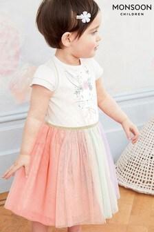 Monsoon白色嬰兒裝的士高風格小兔圖案連衣裙