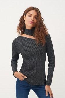 Metallic Ribbed Cut Out Sweatshirt