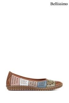 Bellissimo Tan Ladies Flat Leather Ballerina Shoes