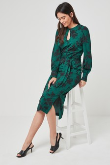 Womens Long Sleeve Belted Dress (M14846) | $57