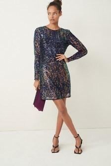 Sequin Long Sleeve Dress (M14956) | $47