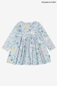 Polarn O. Pyret Swedish Meadow Bedrucktes Kleid aus Bio-Baumwolle, Blau