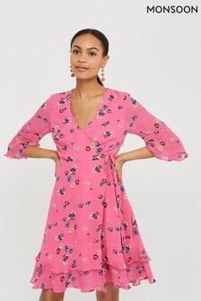 שמלת מעטפת פרחונית ורודה דגם Helen Dealtry NicamilleשלMonsoon