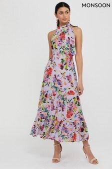 שמלת מידימקסי פרחונית סגולה דגםHelen Dealtry Brynn שלMonsoon