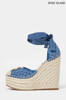 River Island Blue 5055 Branded Ankle Tie Wedges