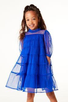 Ярусное платье с сеточкой (3-16 лет)