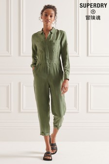 Superdry Cupro Long Sleeved Shirt Jumpsuit (M16598)   $118