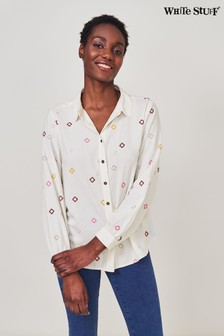 חולצה רקומה בצבע אפור שלWhiteStuff דגםSally
