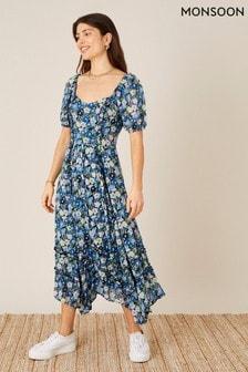 שמלה מודפסת דגםmarleigh מבד ויסקוזה בר-קיימא שלMonsoon