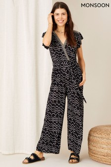 Monsoon Martha Printed Jersey Jumpsuit (M17545)   $90