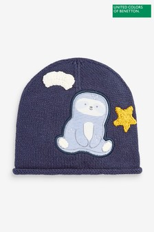 Benetton Navy Embroidered Character Beanie Hat