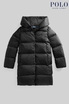 Ralph Lauren Black Logo Long Down Puffer Coat