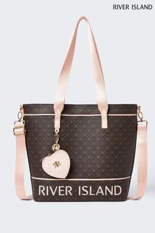 River Island Brown Purse Monogram Shopper