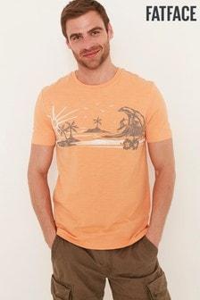 Коралловая футболка FatFace Woodcut Surf