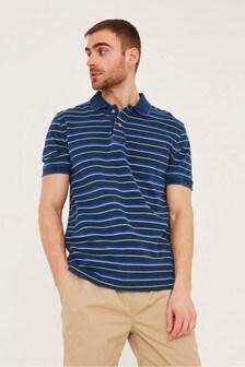 FatFace Blue Indigo Stripe Pique Polo Shirt