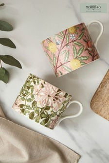 Set of 2 Morris & Co. Fruit & Honeysuckle Mugs