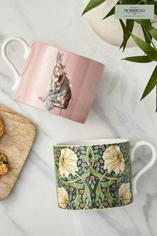 Set of 2 Morris & Co. Pimpernel & Forest Hare Mugs