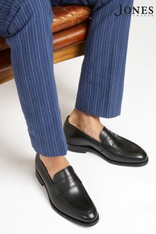 Jones Bootmaker Black Goodyear Welted Men's Leather Penny Loafers
