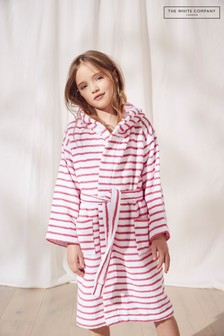 The White Company Pink Striped Hooded Robe