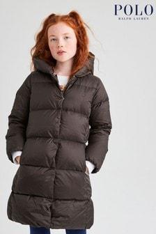 Ralph Lauren Khaki Logo Long Down Puffer Coat