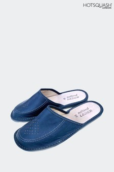 Hot Squash Blue Leather Featherweight Mens Slippers
