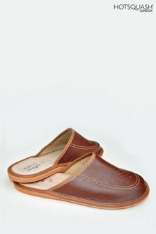 HotSquash Brown Leather Featherweight Mens Slippers