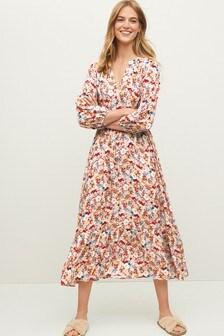 Long Sleeve Tie Waist Dress
