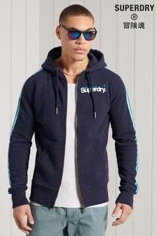 Superdry核心標誌Cali連肩拉鍊連帽上衣
