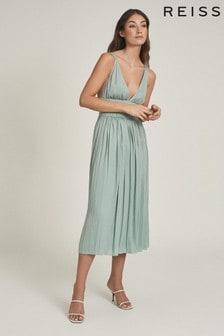 Зеленое платье миди с глубоким вырезом REISS Saffy