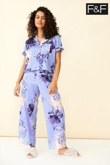 F&F Purple Satin Bloom Pyjama Set