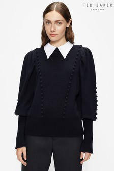 Ted Baker Blue Aledina Denim Knit With Collar Detail Sweater