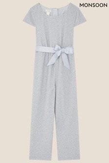 Monsoon Blue Shimmer Jersey Jumpsuit