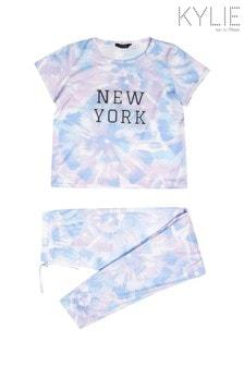 طقم بيجاما Teen New York أزرق صباغة بالربط من Kylie