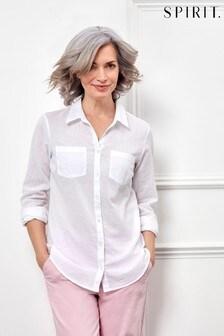 חולצה לבנה חלקה עם שרוול מתקפל של Spirit