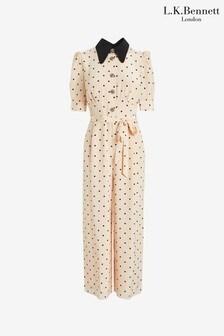 L.k.bennett X Royal Ascot Cream/black Lena Silk Jumpsuit (M22533)   $546