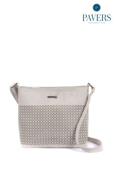 Серая женская сумка с длинным ремешком и отделкой Pavers