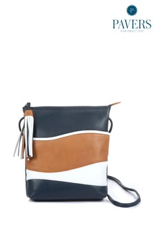 Синяя женская кожаная сумка с длинным ремешком Pavers