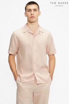 Ted Baker Callig Short Sleeve TENCEL™ Micro Pleat Shirt