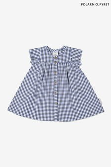 Polarn O. Pyret藍色有機棉格子佈方格圖案洋裝