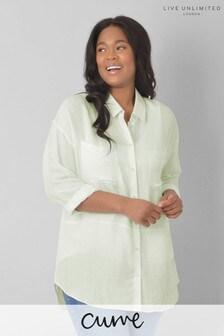 חולצה מתערובת פשתן בגזרת אוברסייז למידות גדולות של Live Unlimited בצבע ליים