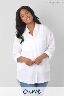 חולצה מתערובת פשתן עם גופיה בגזרת אוברסייז למידות גדולות של Live Unlimited בצבע לבן