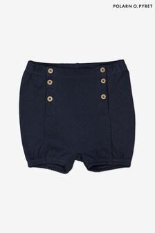 Polarn O. Pyret blauwe shorts van biologisch katoen met knopen aan voorzijde