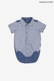 בגד גוף לתינוק עם צווארון ומשבצות מכותנה אורגנית של Polarn O. Pyret בכחול