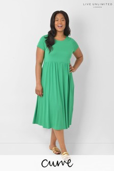 LIVE Curve Sustainable Viscose Jersey Green Midi Dress